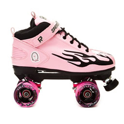 Rock Pink Flame Swirl Womens Speed Roller Skates, Pink-Black Flames, 256