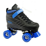Pacer Charger Junior Boys Speed Roller Skates, Black-Blue, medium