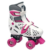Pacer XT70 Adjustable Girls Artistic Roller Skates, White, medium