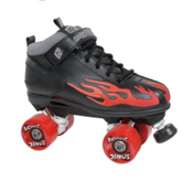 Rock  Sonic Boys Speed Roller Skates, Black-Red Flames, medium