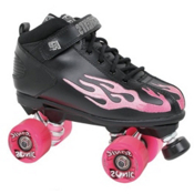Rock  Sonic Outdoor Roller Skates 2013, Black-Pink Flames, medium