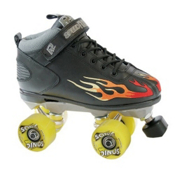 Rock  Sonic Outdoor Roller Skates 2013, Black-Multi Colored Flames, medium