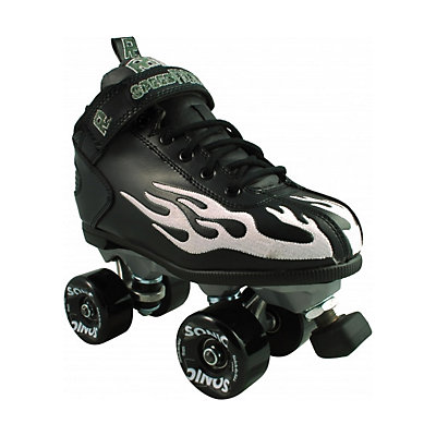 Rock Sonic Outdoor Roller Skates, Black-Blue Flames, viewer
