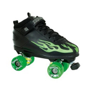 Rock Sonic Outdoor Roller Skates, Black-Green Flames, medium