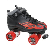 Rock Sonic Outdoor Roller Skates, Black-Red Flames, medium