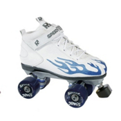 Rock Sonic Outdoor Roller Skates, White-Blue Flames, medium