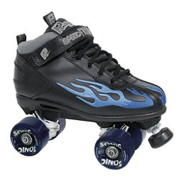 Rock Sonic Outdoor Roller Skates, Black-Blue Flames, 256
