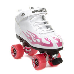 Rock Sonic Outdoor Roller Skates, White-Pink Flames, 256