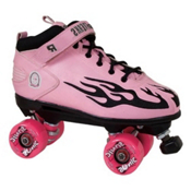 Rock Sonic Outdoor Roller Skates, Pink-Black Flames, medium