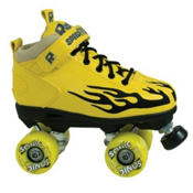 Rock Sonic Outdoor Roller Skates, Yellow-Black Flames, medium