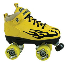 Rock Sonic Outdoor Roller Skates, Yellow-Black Flames, 256