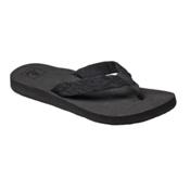 Reef Mid Seas Womens Flip Flops, Black-Black, medium