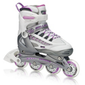 Roller Derby Rocket MDX Adjustable Girls Inline Skates 2013, Purple-White-Silver, medium