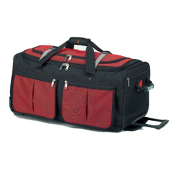 Athalon Sport Bags 15 Pocket 22'' Wheeled Duffel Bag, Red, medium
