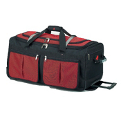 Athalon Sport Bags 15 Pocket 25'' Wheeled Duffel Bag, Red, medium