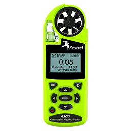 Kestrel 4300 Construction Weather Tracker with Bluetooth, Safety Green, 256