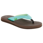 Sanuk Yoga Mat Womens Flip Flops, Aqua, medium