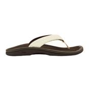OluKai Ohana Womens Flip Flops, White-Dark Java, medium