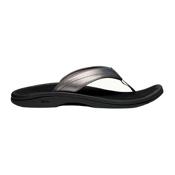 OluKai Ohana Womens Flip Flops, Pewter-Black, medium