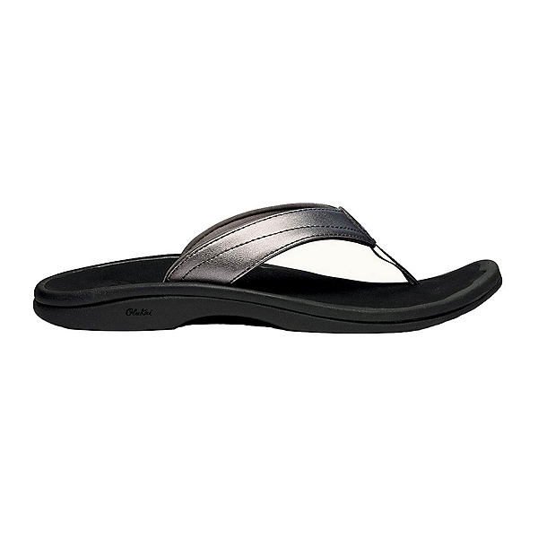 OluKai Ohana Womens Flip Flops, Pewter-Black, 600