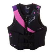 O'Neill Siren LS USCG Womens Life Vest, Black-Petunia-Ultra Violet, medium