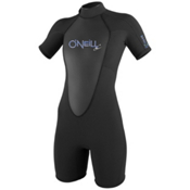 O'Neill Bahia S/S Womens Shorty Wetsuit, Black, medium