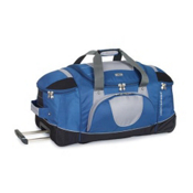 High Sierra 30 Inch Wheeled Duffel Bag, Blue Yonder Tungsten Black, medium