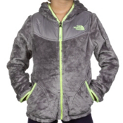 The North Face Oso Hoodie Girls Jacket, Metallic Silver-Rave Green, medium