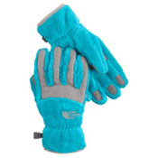 The North Face Denali Thermal Girls Gloves, Turquoise Blue-Metallic Silver, medium