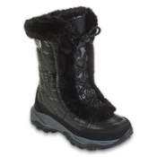 The North Face Nuptse Fur II Girls Boots, Shiny Black-Black, medium