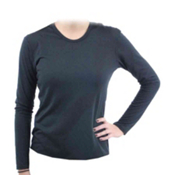 Hot Chillys PepperSkins Crewneck Womens Long Underwear Top, Black, medium