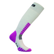 Euro Sock Zone Medium Weight Womens Ski Socks, White Pink, medium