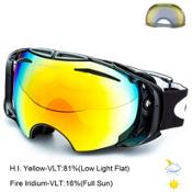 Oakley Airbrake Goggles, Jet Black-Fire Iridium + Bonus Lens, medium