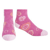 Life Is Good Snuggle Lightweight Womens Socks, Hot Fuchsia Floral, medium
