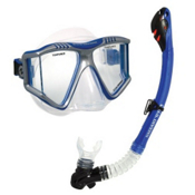 US Divers Lux Purge LX Grenada Snorkel Combo, Blue, medium