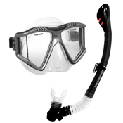 US Divers Lux Purge LX Grenada Snorkel Combo, Black, medium