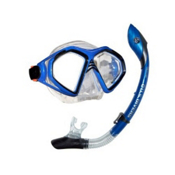 US Divers Admiral 2 LX Island Dry Snorkel Combo, Electric Blue, medium