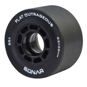 Riedell Flat Outrageous Roller Skate Wheels - 4 Pack, Black, medium