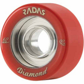 Radar Diamond Roller Skate Wheels - 4 Pack, Blood Red, medium