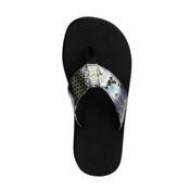 Reef Sassy Sandra Womens Flip Flops, Pewter-Snake, medium
