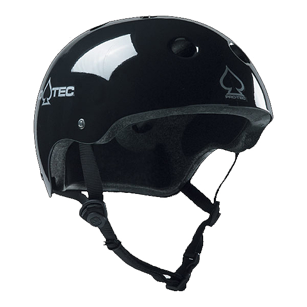 Pro-Tec Classic Plus Mens Skate Helmet, Gloss Black, 600