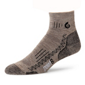 Point6 Hiking Tech Medium Mini Crew Socks, Taupe, medium