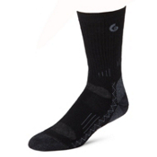 Point6 Hiking Tech Medium Crew Socks, Black, medium