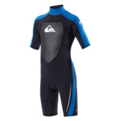Quiksilver 2/2mm Boys Spring Suit Kids Shorty Wetsuit, Black-Blue, medium