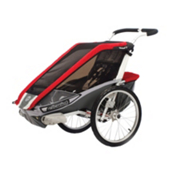 Chariot Carriers Cougar 1 Stroller, Red-Silver-Grey, medium