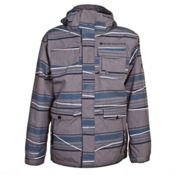 686 Smarty Shift Mens Insulated Snowboard Jacket, Gray Linen Stripes, medium