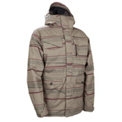 686 Smarty Shift Mens Insulated Snowboard Jacket, Tobacco Linen Stripes, medium