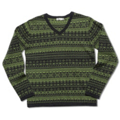 Neve Designs Johan Fair Isle V-Neck Mens Sweater, Basil, medium
