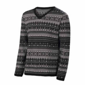 Neve Designs Johan Fair Isle V-Neck Mens Sweater, Black, medium