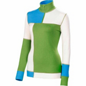 Neve Designs Color Block Zip Neck Womens Sweater, Vivid Green, medium